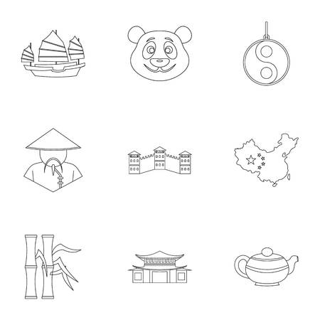 Country of China icon set. Outline style set of 9 country of China vector icons for web isolated on white background Illustration
