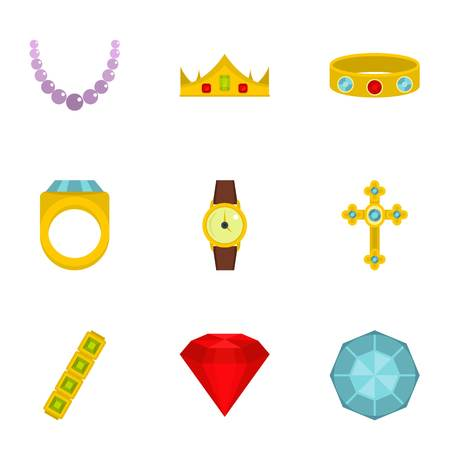 Jewelry collection icon set. Flat style set of 9 jewelry vector icons for web isolated on white background