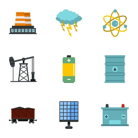 Power generation icon set. Flat style set of 9 energy sources vector icons for web isolated on white background