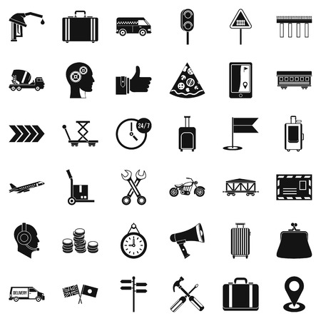 checklist: Delivery icons set. Simple style of 36 delivery vector icons for web isolated on white background