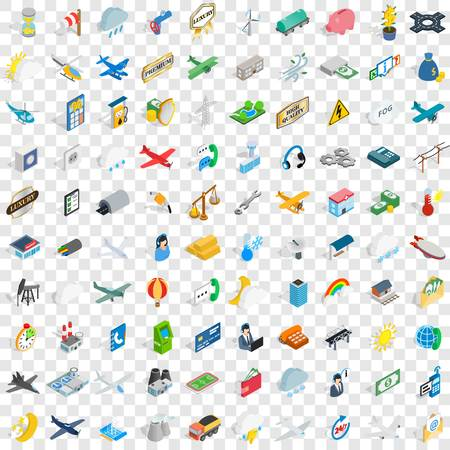 100 aeroplane icons set in isometric 3d style for any design vector illustration Фото со стока - 83397641