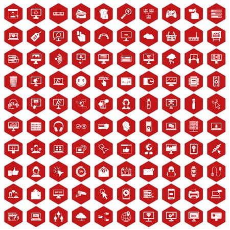 setup: 100 internet icons set in red hexagon isolated vector illustration Illustration