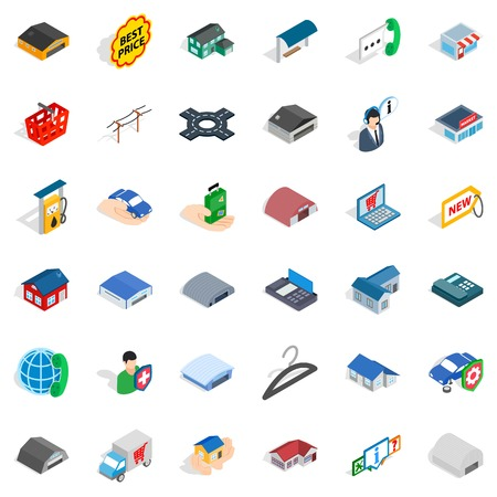 best protection: Safety deposit icons set. Isometric style of 36 safety deposit vector icons for web isolated on white background