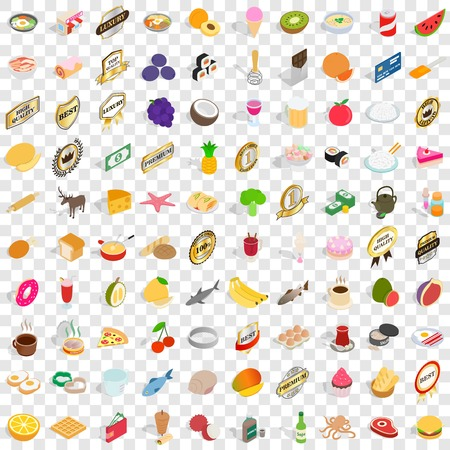 bakery products: 100 bakehouse icons set in isometric 3d style for any design vector illustration