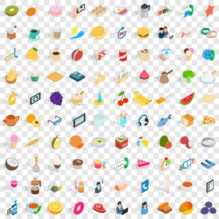 100 bakery cooking icons set in isometric 3d style for any design vector illustration Stock Vector - 83398093