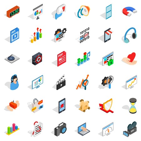 woman laptop: Right design icons set. Isometric style of 36 right design vector icons for web isolated on white background