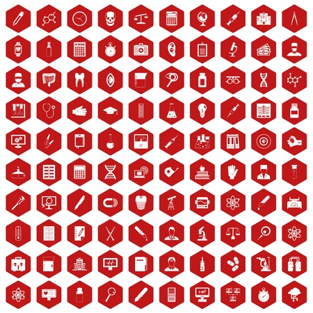 100 lab icons set in red hexagon isolated vector illustration