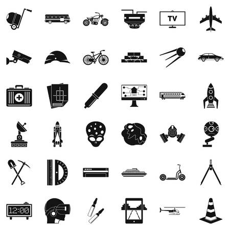 Development in progress icons set. Simple style of 36 development in progress vector icons for web isolated on white background