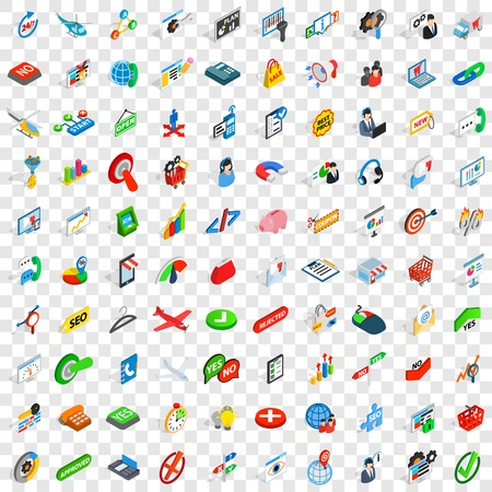 hotline: 100 biz icons set in isometric 3d style for any design vector illustration