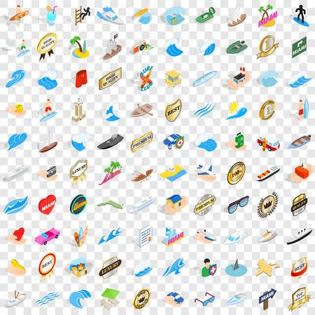 100 boat icons set in isometric 3d style for any design vector illustration Illustration
