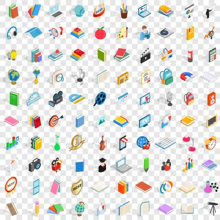 nonfiction: 100 book icons set in isometric 3d style for any design vector illustration