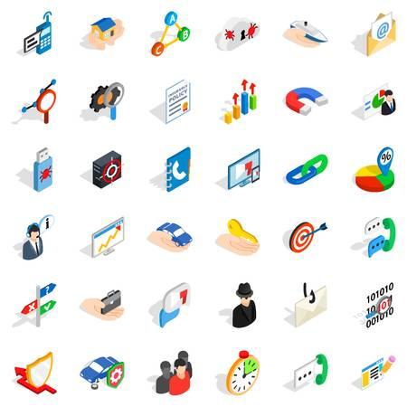 Business development icons set. Isometric style of 36 business development vector icons for web isolated on white background