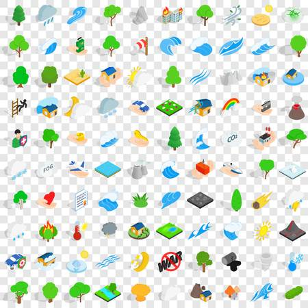 flooding: 100 calamity icons set in isometric 3d style for any design vector illustration