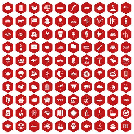 100 lotus icons set in red hexagon isolated vector illustration