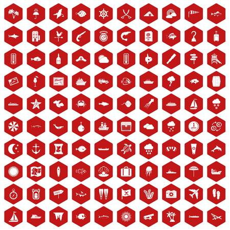 100 marine environment icons set in red hexagon isolated vector illustration Illustration