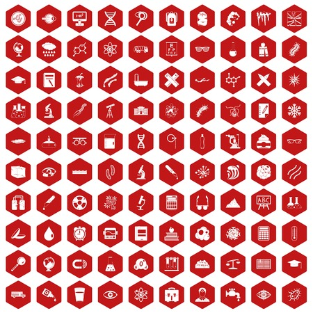 eyepiece: 100 microscope icons set in red hexagon isolated vector illustration