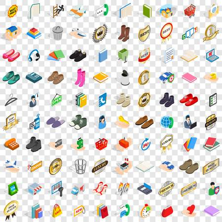100 commercial icons set in isometric 3d style for any design vector illustration