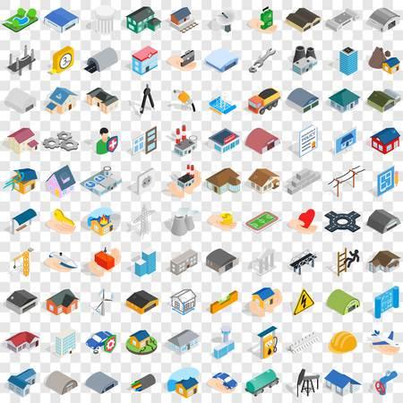100 建設アイコンを任意のデザインのベクトル図の等尺性の 3 d スタイルの設定します。  イラスト・ベクター素材