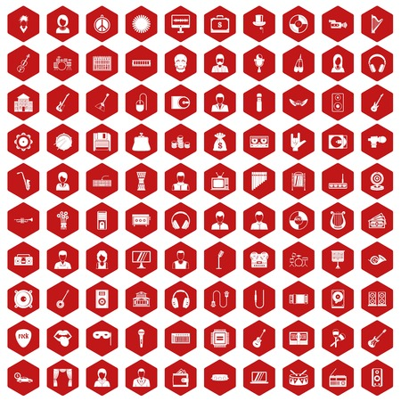 operetta: 100 music icons set in red hexagon isolated vector illustration