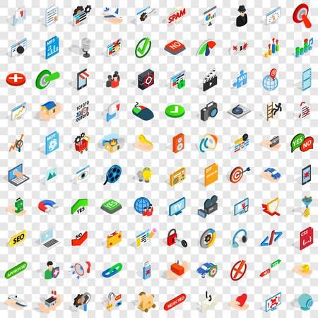100 icone cyber impostate in stile isometrico 3D per qualsiasi design illustrazione vettoriale