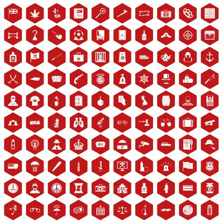 100 offence icons set in red hexagon isolated vector illustration Illustration