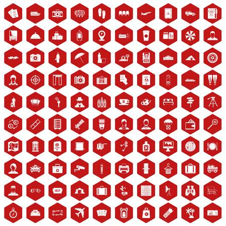 flippers: 100 passport icons set in red hexagon isolated vector illustration