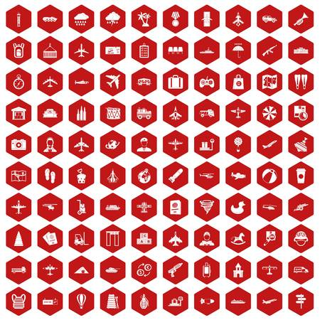 palm pilot: 100 plane icons set in red hexagon isolated vector illustration Illustration