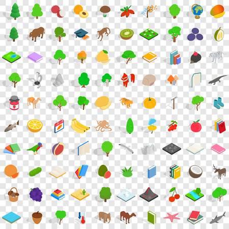 100 fauna icons set, isometric 3d style Illustration