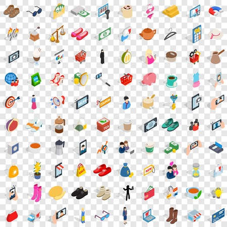 simple girl: 100 female icons set, isometric 3d style