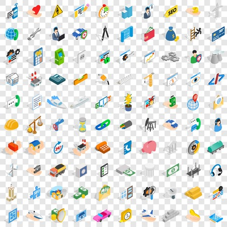 100 firm icons set, isometric 3d style