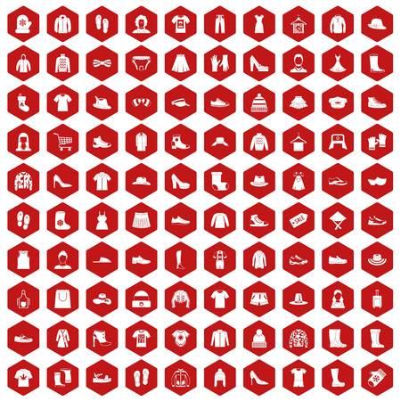 100 trapos iconos hexagonal rojo Ilustración de vector