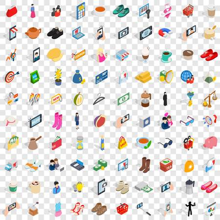 100 girl icons set in isometric 3d style for any design vector illustration Ilustracja