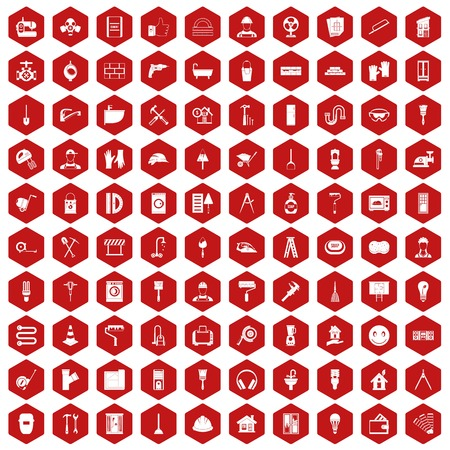 100 renovation icons set in red hexagon isolated vector illustration