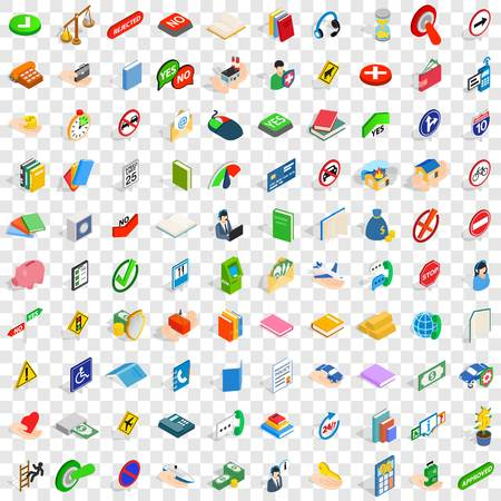 sheltering: 100 helpful icons set in isometric 3d style for any design vector illustration Illustration