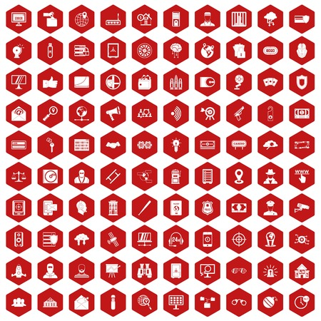 heist: 100 security icons set in red hexagon isolated vector illustration