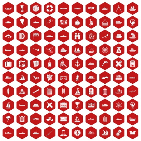 rope bridge: 100 shipping icons set in red hexagon isolated vector illustration