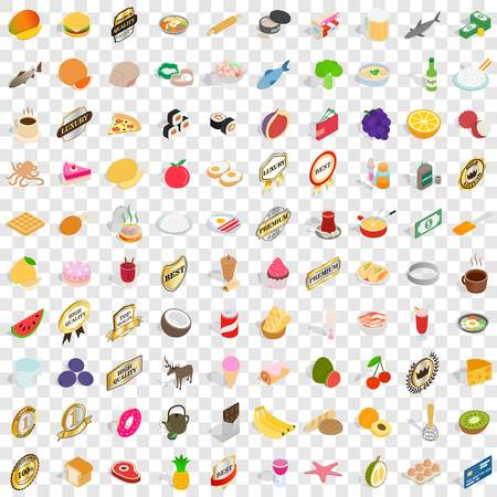100 grocery shopping icons set in isometric 3d style for any design vector illustration