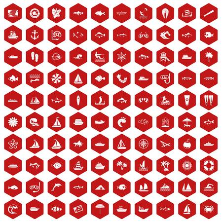 ship anchor: 100 sea icons set in red hexagon isolated vector illustration Illustration