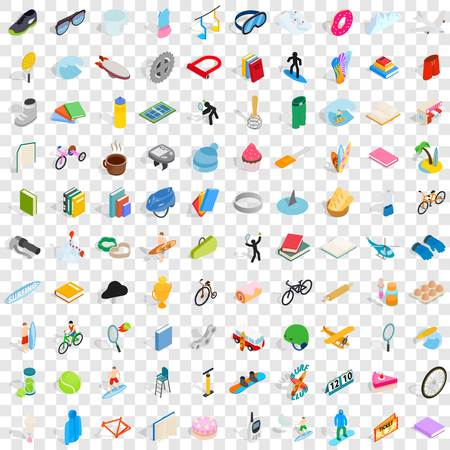 100 hobby icons set in isometric 3d style for any design vector illustration Illustration
