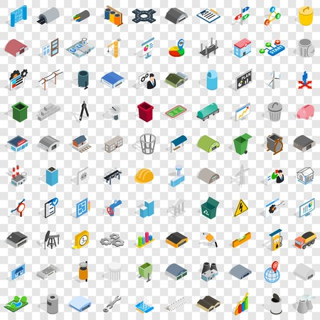 100 industry icons set in isometric 3d style for any design vector illustration Illustration