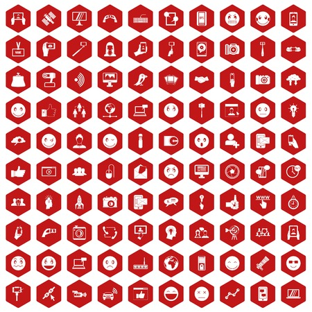 100 social media icons set in red hexagon isolated vector illustration Ilustração