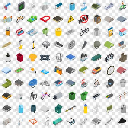 100 iron icons set in isometric 3d style for any design vector illustration