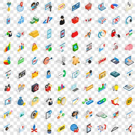 100 it icons set in isometric 3d style for any design vector illustration
