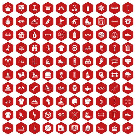 bicycle pump: 100 sport life icons set in red hexagon isolated vector illustration Illustration