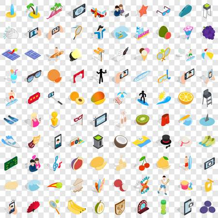 100 joy icons set in isometric 3d style for any design vector illustration Zdjęcie Seryjne - 83402846