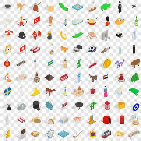 100 icônes de royaume définies en style 3D isométrique pour toute illustration vectorielle de design