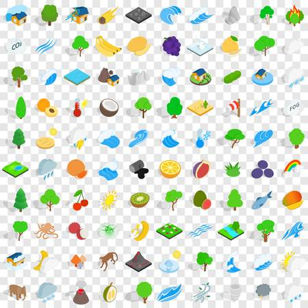 100 iconos de tierra establecidos en estilo isométrico 3d para cualquier ilustración de vector de diseño Foto de archivo - 83402383