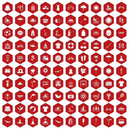 100 summer icons set in red hexagon isolated vector illustration Illustration