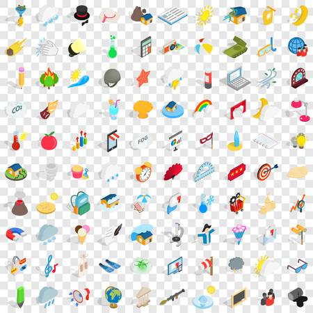 electric torch: 100 light icons set in isometric 3d style for any design vector illustration