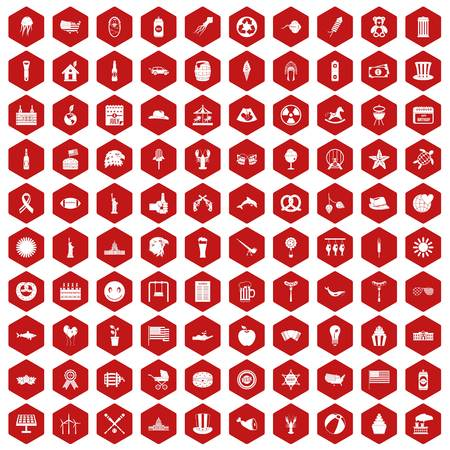 bbq barrel: 100 summer holidays icons set in red hexagon isolated vector illustration